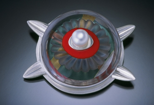Glass and Paper Brooch