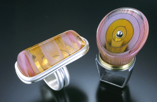 Pink Striated Glass Rings