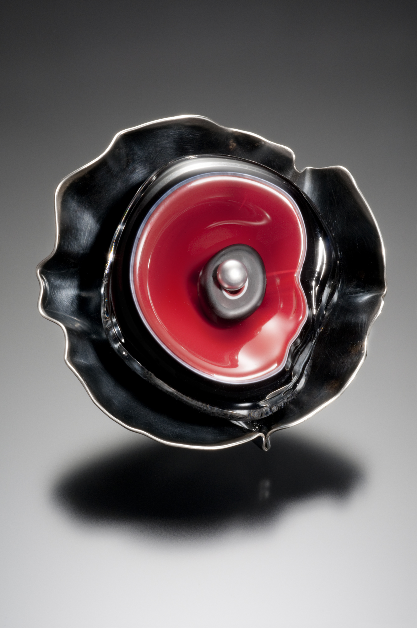 Red Cup Brooch Roessler Glass
