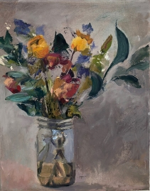 Flowers in a Jar, oil on canvas
